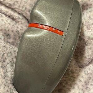 Prada glasses case clam shell suede interior gray